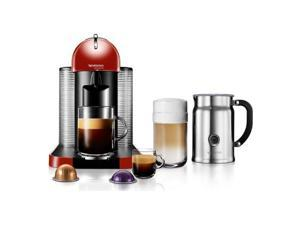 Nespresso VertuoLine Red Coffee and Espresso Maker Bundle with Aeroccino Plus Frother