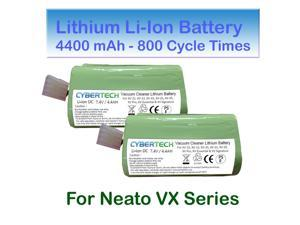 Lithium Li-Ion Battery for Neato XV 4400mAh SUPER LONG-LIFE (800 CYCLE TIMES) 2-Pack Replacement for Neato XV-11 XV-12 XV-15 XV-21 XV-25 Signature XV Pro Robotic Vacuum Cleaner