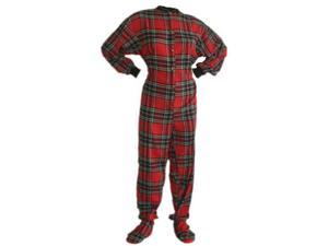 Big Feet Pjs Red & Black Cotton Plaid Flannel Adult Footie Footed Pajamas