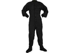 Big Feet Pjs Black & White Cotton Plaid Flannel Adult Footie Footed Pajamas