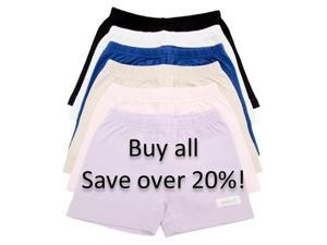 Girls Cotton Knit Under Shorts - 6-Pack Bundle Collection - Size 8