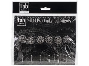 Silver Pin Embellishments 6/Pkg-Rose