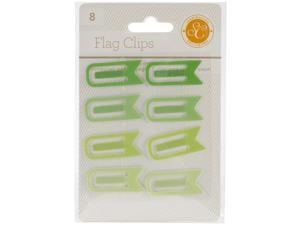 """Essentials Flag Clips .5""""X1.25"""" 8/Pkg-Greens"""