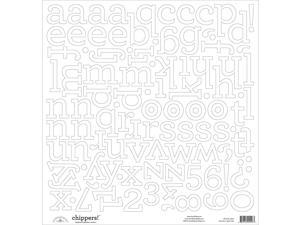 "Chippers Monochromatic Chipboard Alphabet Stickers 12""X12""-Lily White"