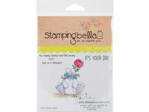 Stamping Bella EB387 Cling Stamp, 6.5 x 4.5 in. - The Bunny Wobble And The Peony