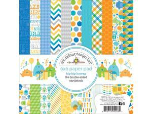"Hip Hip Hooray Paper Pad 6""X6"" 24/Sheets-Double-Sided"
