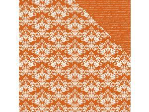 "Back To Basics Double-Sided Cardstock 12""X12""-Orange Damask"