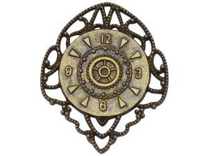 Brass Embellishments 10/Pkg-Filigree Clock