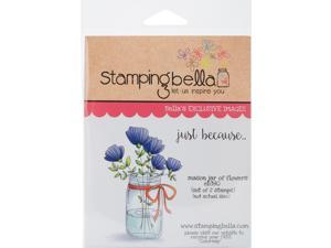 Stamping Bella EB390 Cling Stamp, 6.5 x 4.5 in. - Mason Jar of Flowers