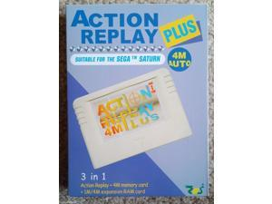 Sega Saturn Action Replay Plus 3 in 1 Memory Card and Cheat Codes Auto 1 or 4M Ram Region Free
