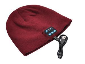 VWTECH Bluetooth Music Beanie Hat Cap Headset Stereo Speakers & Mic - Dark Red
