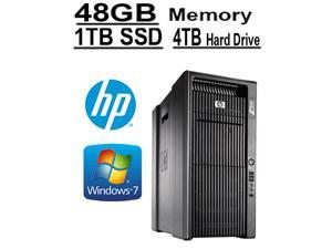 HP 8 CORE COMPUTER with 16 Hyperthreads | HP Z800 Workstation | 2 X Intel QUAD CORE Xeon up to 3.33GHz | 1TB SSD |*NEW* 4TB HDD | 48GB DDR3 RAM - WIFI - 4 Monitor Capable - Windows 7 Pro - USB 3.0