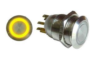 Keep It Clean Sw42Y 19Mm Momentary Billet Button With Yellow Led Ring
