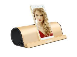 LuguLake II Charge 10Watt Bluetooth Speaker Built-in 5000mAh External Battery Pack w/Alumium Stand for Iphone 6, Galaxy S6, Ipad, Nexus and Others (Gold)