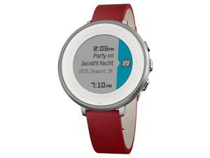Pebble Time Round Smartwatch for Apple/Android Devices - Silver Case & Red Band(14mm)