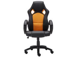 Baymate Racing Chair Ergonomic High-Back PU Leather Gaming Swivel Bucket Seat Computer Office Chair Orange