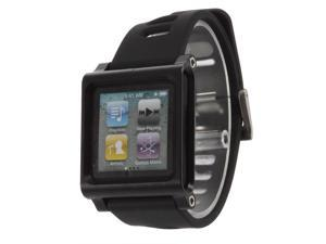 Adjustable-length Wide Sport Strap Watch Band for Ipod Nano 6th Generation,Aluminum Case,Silicon Belt,Black Color