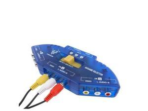 Blue 3 Way Ports Audio Video AV RCA Switch Switcher Splitter Cable