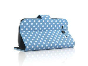 Diary Style Polka Dots Leather Flip Cover Case for Samsung Galaxy S III S3 i9300, Free Screen Protector 7471-2 - Blue