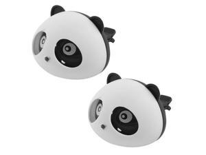 2Pcs Black/White Panda Shaped Car Air Freshener Perfume w Two Clips New
