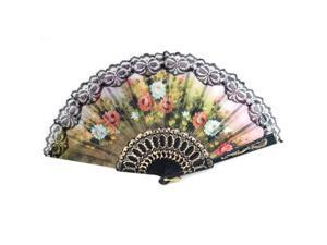 Spanish Flower Floral Fabric Lace Folding Hand Fan Dancing Wedding Party Decor
