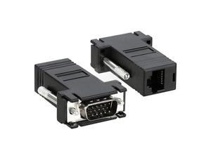 2 Black VGA Male to CAT5/CAT6/RJ45 Extender Adapters Cable