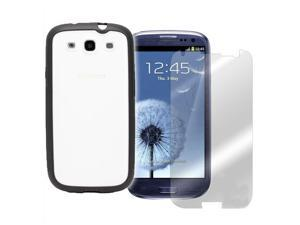 2 in 1 Bundle for Samsung Galaxy S3 S III - 1 PC + TPU Hybrid Case - Black and 1 Crystal Clear Screen Protector Shield