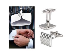 Gentle Mens Stainless Business Shirt Silver Square Lattice Wedding Cufflinks UK