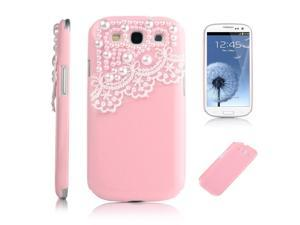 Deluxe Pink Hard Back Cover with White Lace for Samsung Galaxy S-iii S3 I9300
