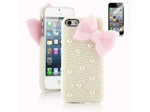 Fashion Sweet Girl #D Full Pearls butterfly Hard Case Cover for Apple Iphone 5