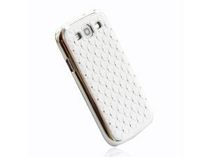 Rhinestone Bling Chrome Plated Case Cover for Samsung Galaxy S III S3 I9300 White