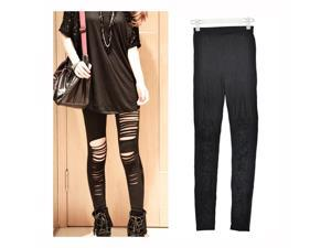 Cool Sexy Black women's Girls Hippie Ripped Torn Slashed Leggings Tights Pant