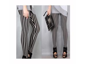 One Size Long Vertical Black White Stripe Leggings Tights Trousers For Womens