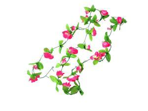 New 2.5M Green Leaves Fabric Fuchsia Roses Artificial Hanging Flower Bouquet