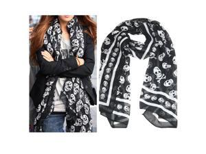 Cute Cool Elegant Ladies Girls Punk Pirate Skull Chiffon Scarf Kerchief Cozy