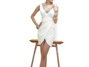 Womens Sleeveless Deep Neck Evening Cocktail Party Mini Dress Club