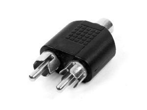 New Dual RCA Male Plug to 1 x RCA Female Socket Phono AV Adapter Connector