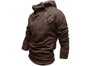 South Korea Mens Stylish Hoodie Coat Sweatshirt Coffee Color M