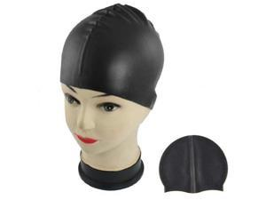 Hot Sale Black Soft Silicone Stretchable Swim Swimming Cap Hat for Adults