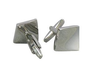 Stainless Steel Men Cuff Link CUFFLINKS Shirt Set Tile Silver