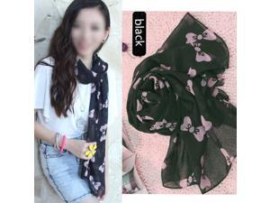 Black Women's Large Soft Scarf Wrap Shawl Chiffon Bowknot SCarves