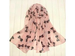 Pink Women's Large Soft Scarf Wrap Shawl Chiffon Bowknot Scarves