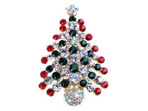 Multi-Colored Crystal Christmas Tree Brooch Pin Christmas Gift
