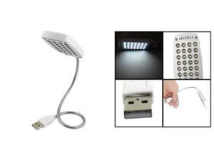 Plastic Shell White 28 LED Flexible Gooseneck USB Lamp Light