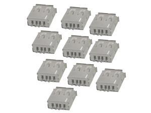 10 Pcs Straight Solder Type USB A Female Plug Jack Connector