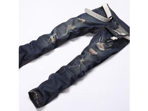 Men's Straight Slim Fit Jeans Color Dark Blue-33