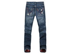 Men's Straight Slim Fit Jeans Color Dark Blue with Red Trim-32