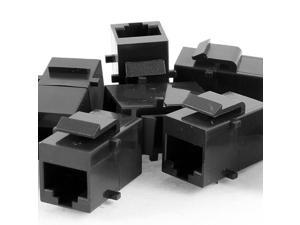 Black Snap Joint RJ45 8P8C Female Lan Ethernet Coupler Connector 8 Pcs