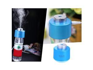 Mini Portable Bottle Cap Air Humidifier with USB Cable for Office Home, Blue Color