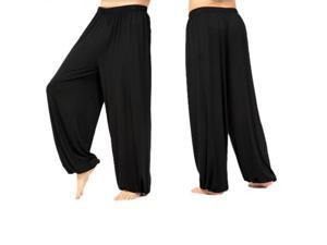 yoga pants Loose Modal bloomers tai chi men women-Black,L